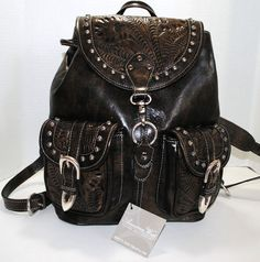 American West Womens Brown Leather Back Pack Handbag Purse
