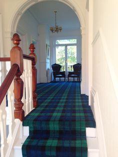 Tartan carpet, tartan stair runner, Black Watch tartan. Edwardian home, landing