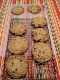 These are really wonderful large, thick, and chewy cookies with a deep caramel flavour due to the unusual step of browning the butter .  The recipe is from Cooks Illustrated Magazine (May/June 2009).