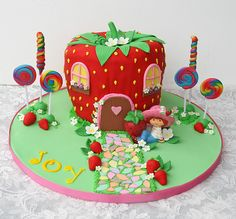 Strawberry kids birthday cake - neither of my girls would want this, but it makes me smile.