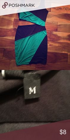 Forplay brand Dress Slit side dress. Gently used . Great for going out! Size medium accepting offers black and like a teal color( bluish green) accepting offers Dresses