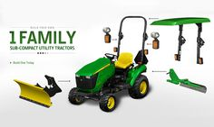 Sub-compact tractor with a powertrain warranty and easy-attach landscaping implements. View our line-up of small tractors with and options. Riding Lawn Mower Attachments, John Deere Attachments, Sub Compact Tractors, Small Tractors, Utility Tractor, New Tractor, Heavy Equipment, Outdoor Power Equipment, Agricultural Implements