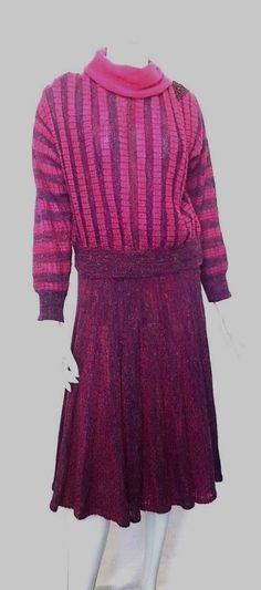 Vintage 70's LUCEA ITALY Fuchsia 2 Piece Knit Dress w Chainlink Shoulder Detail
