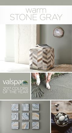 """A versatile neutral beloved by designers for its timeless simplicity and back-to-nature appeal."" Sue Kim, Valspar Color Strategist. One of 12 Valspar 2017 Colors of the Year: Wet Pavement 5006-2A at Lowe's.  https://www.askval.com/ColorsOfTheYearLanding/Warm-Stone-Gray"