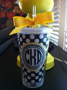 Personalized Cup, Polka Dot cup, Monogrammed cup, black and white cup, preppy tumbler  via Etsy