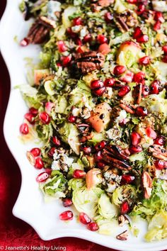 Warm Roasted Brussels Sprout Apple Salad with Blue Cheese and Pecans - a festive holiday salad to brighten up your table