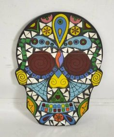Earthbound Day Of The Dead Mosaic Skull Wall Decor