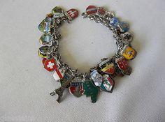 Vintage Silver & Enamel Travel Charm Bracelet