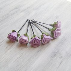 Your place to buy and sell all things handmade Wedding Hair And Makeup, Wedding Hair Accessories, Bridal Hair, Wedding Jewelry, Light Purple Flowers, Purple Roses, Flowers In Hair, Flower Clips, Rose Hair