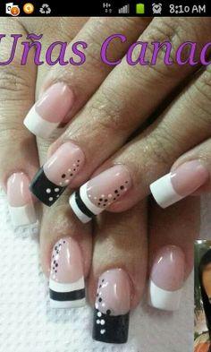 Black and white design. Pretty Nail Art, Beautiful Nail Art, Nails Polish, Toe Nails, Great Nails, Fabulous Nails, French Tip Nails, Manicure E Pedicure, Types Of Nails
