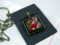 Embroidered pendant necklace bronze tone by EmbroideredJewerly