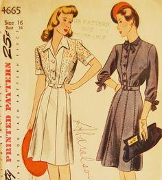 Vintage 1940s Simplicity Misses Dress by NostalgiaVintage2, $12.50