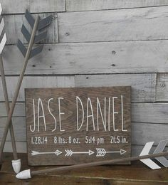 Birth Announcement Wood Sign wall art decor Baby Stats Weight