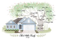 Personalized Custom Illustrated House Portrait with Family Tree Original Home Illustration, Anniversary, Christmas gift (11x17)