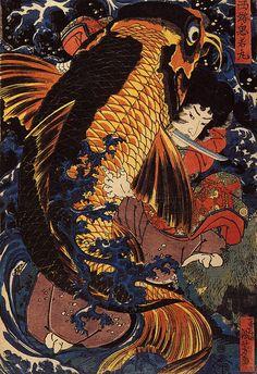 Utagawa Kuniyoshi - Saito Oniwakamaru, the young Benkei, fights the giant carp at the Bishimon waterfall