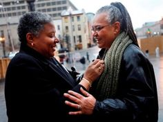 Couples arrive at Superior Court to obtain their marriage licenses after the District of Columbia legalized gay marriage in Washington, on Wednesday, March 3, 2010. (AP Photo/Jacquelyn Martin)