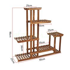 MALAYAS Wooden Plant Flower Display Stand Wood Pot Shelf Storage Rack Outdoor Indoor 6 Pots Holder 96x95x25Cm
