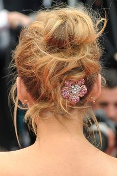 The Most Major Hair and Makeup Moments at Cannes 2016   People - Blake Lively's messy Cinderella updo with pink diamond Lorraine Schwartz hair brooch