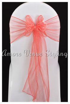#wedding #sash #chaircover #coral #bow