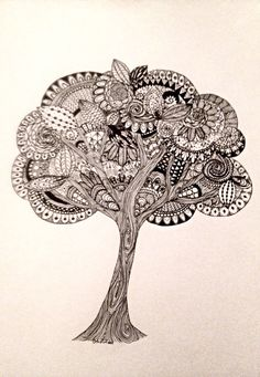 This tree is an absolutely gorgeous piece. A classic style with Zentangle ink drawing makes it a unique piece of art perfect for anyones home!