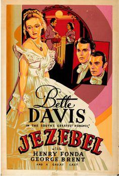 "Movie Poster Jezebel 1938 Silk-Screen 40""x60"" F+ 6.5 Bette Davis Henry Fonda | eBay Iconic Movies, Old Movies, Vintage Movies, Classic Movie Posters, Classic Movies, Old Film Posters, Old Hollywood Movies, Classic Hollywood, Vintage Hollywood"