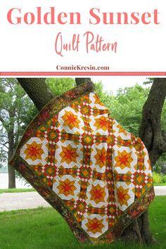 Golden Sunset Quilt pattern makes a beautiful quilt