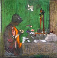 Madame Hessel at Her Dressing Table (Edouard Vuillard - circa No dates listed)