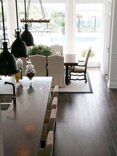 I LOVE this room! walnut wood floors; dark wood floors;kitchen large bank of windows.
