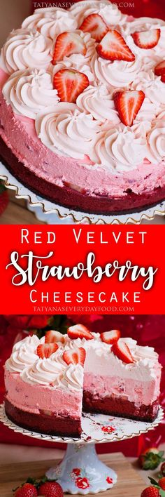 Triple layer red velvet cheesecake with a chocolate crust, a strawberry mousse layer and strawberry whipped cream topping!