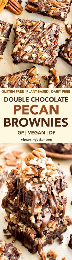 Double Chocolate Pecan Brownies (V, GF, DF): an easy recipe for rich, fudgy brownies packed with pecans and chocolate drizzle. #Vegan #GlutenFree #DairyFree | BeamingBaker.com (Gluten Free Recipes For Dessert)
