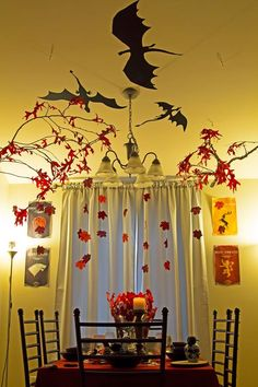 Game of Thrones party decor! Love the dragon silhouettes!
