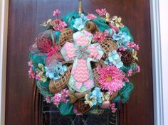 Turquoise and Pink Cross Wreath by HertasWreaths on Etsy