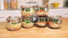 Instant noodles in a jar take the stress out of dinner time. They are easily transported, and simply heated up in the microwave./