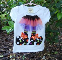 Items similar to Witch& Shoes with Tutu Skirt Halloween Applique Shirt or O. Halloween Applique, Halloween Shirt, Halloween Costumes, Witch Shoes, Paisley, Sewing Appliques, Baby Design, Sewing For Kids, Diy Clothes