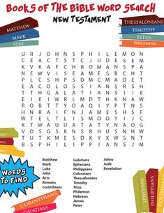 Books of the Bible Word Search New Testament FREE Books of the Bible Word Search! Use this free word search to help your Sunday School or Kids Church memorize the New Testament Books of the Bible. Bible Activities For Kids, Bible Resources, Bible Games, Bible Study For Kids, Bible Lessons For Kids, Bible Trivia, Learn The Bible, Abc Games, Church Activities