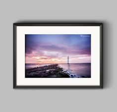 Colour landscape photograph of New Brighton Lighthouse / Sunset / fine art print / photography / wall art / home decor / print / coastal