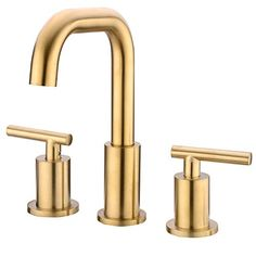 TRUSTMI 2 Handle 8 Inch Brass Bathroom Sink Faucet 3 Hole Widespread with Valve and cUPC Water Supply Hoses, with Overflow Pop Up Drain Assembly, Brushed Gold Gold Bathroom Faucet, Gold Faucet, Widespread Bathroom Faucet, Master Bathroom, Basin Mixer Taps, Water Supply, Bronze, Handle, Things To Sell