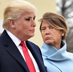 I find it horrifying that they both seem to look slightly better this way Rice&Caricature Funny Face Swap, Donald Trump Funny, Trump Face, Donld Trump, Trump Funny Face, Donald And Melania, Trump Cartoons, Face Swaps, First Lady Melania Trump
