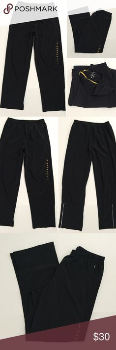 """[Nike] men's black athletic track/jogger pant L [Nike] men's black athletic track/jogger pant L •🆕listing •great pre-owned condition •dark charcoal grey or lighter black with yellow """"Livestrong"""" logo (no wear/cracking) •elastic drawstring waistband, 2 front zipper pockets •length/inseam 31"""" •material 86% polyester 14% spandex, soft/breathable •offers and bundles welcomed using the features Nike Pants Sweatpants & Joggers"""