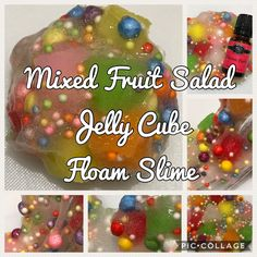 Mixed Fruit Salad Jelly Cube Floam Slime Rainbow Cubes Pionfruit Scented Foam Beads Clear