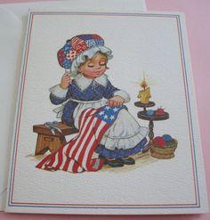 Unused-Vtg-Greeting-Card-Blank-Note-Revolutionary-Girl-Betsy-Ross-Sewing-Flag