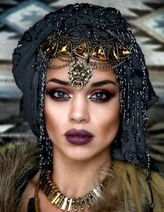 FORTUNE TELLER LIPS AND CONTOUR - colour lips in muted purple and contour with brown and gold on cheeks.