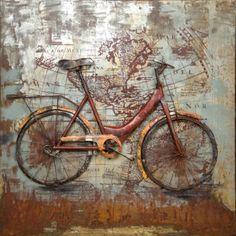 Met de fiets de wereld rond.Dit is een opvallende 3D muurdecoratie van een fiets.Het geheel is gemaakt van oud ijzer.