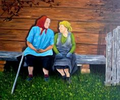 Quadro Pintura by Jorge Marcovich Amigas de Infância 50x60 Old childhood Friends Oil Painting
