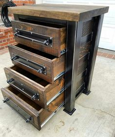 Vintage Industrial Chest of Drawer/ Dresser/ Storage. Blackened Steel with Hardwood top and Reclaimed Woods 2019 Vintage Industrial Chest of Drawer/ Dresser/ Storage. Industrial Design Furniture, Rustic Industrial, Rustic Furniture, Vintage Furniture, Diy Furniture, Furniture Removal, Furniture Stores, Dresser Storage, Dresser Drawers