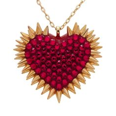 """""""Xirius"""" Spiked & Pavèd Heart Necklace in Siam"""