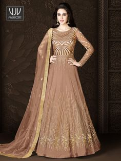 Buy Awesome Brown Color Net Designer Anarkali Suit Indian wedding salwar suits online in USA, UK, Canada, and Australia from VJV Fashions by designer wedding Robe Anarkali, Long Choli Lehenga, Costumes Anarkali, Anarkali Suits, Punjabi Suits, Designer Anarkali, Designer Gowns, Designer Wear, Bridal Outfits