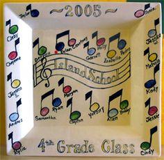 Kids Craft - Fingerprint music notes platter gift for music teacher