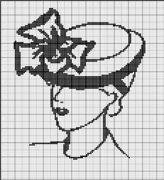 point de croix femme au chapeau - cross stitch woman with a hat