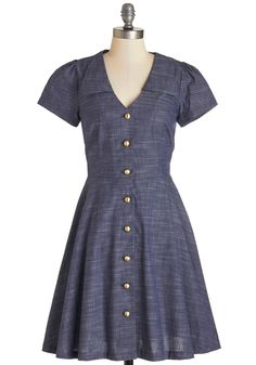 Floral Field Day Dress in Chambray. Wrap yourself in chic style when you button into this dusty-blue dress by Bea  Dot for your day off! #blue #modcloth